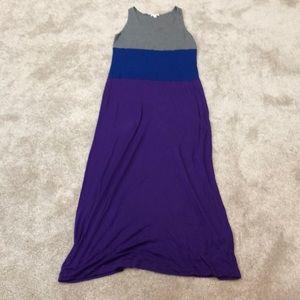 Gap purple grey and blue color block maxi dress